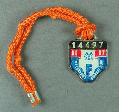 Melbourne Cricket Club membership medallion, season 1986-87