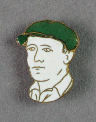 Button depicting Don Bradman, c1930s