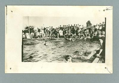 Postcard, image of swimmers & spectators - unknown location