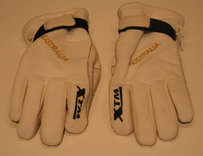 Pair of ski gloves used by Olympian Lydia Lassila at the 2010 Winter Olympic Games in Vancouver.