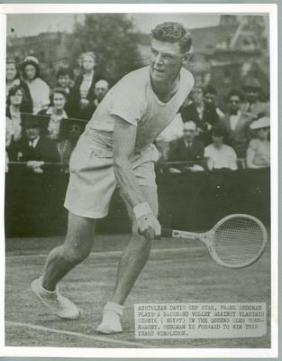 Black and white press photograph of tennis player Frank Sedgman during the Davis Cup, c.1951