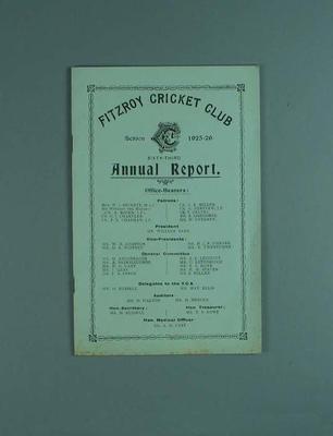 Annual report, Fitzroy Cricket Club - season 1925/26