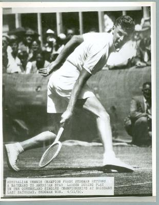 Black and white press photograph of tennis player Frank Sedgman during the Queensland Singles Championships, 1950.