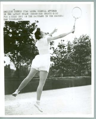 Black and white press photograph of English tennis player Lorna Cornell during taken during the Beckenham Tournament, c.1950