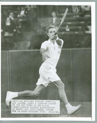 Black and white press photograph of American tennis player Art Larsen during the N.S.W. Championships, 1950.