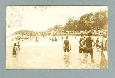 Postcard, image of surf boats at Manly Beach - 1911