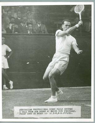 Black and white press photograph of tennis player Dinny Pails, 1951.