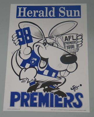 1998 North Melbourne Football Club losing premiership poster, signed by the artist, WEG (William Ellis Green).