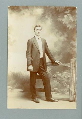 Postcard, image of unknown man wearing suit - 1910