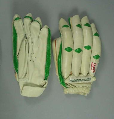 Pair of cricket batting gloves, Kookaburra brand; Sporting equipment; 1986.263