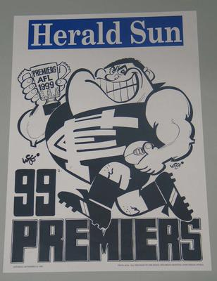 1999 Carlton Football Club losing premiership poster, signed by the artist, WEG (William Ellis Green).