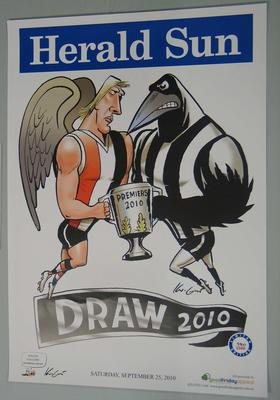 'Herald Sun' AFL Grand Final  'draw' poster for Collingwood versus St. Kilda, with caricature by Mark Knight, 2010.