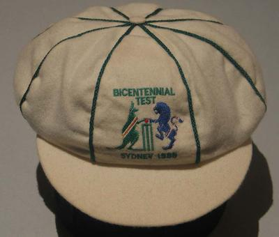 Cricket cap presented to English wicketkeeper Bruce French, commemorating the Bicentennial Test, 1988