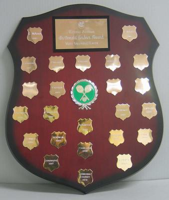 Dr Donald Cordner Award Shield, MCC Tennis Section award for Most Valuable Player, 1985-2010