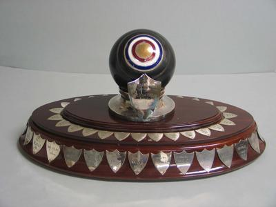 Trophy awarded to the winner of the perpetual contest between the MCC Bowls Club and the Corio Bowling Club, 1939-2003.