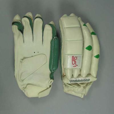 Pair of Kookaburra cricket batting gloves, signed by David Hookes; Sporting equipment; 2006.4848