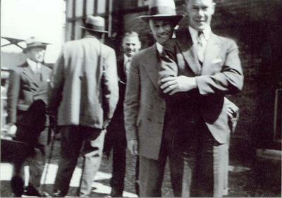 Informal photograph of Australian 1934 Ashes team members (L-R) Bert Oldfield, Bill Woodfull, Don Bradman and Bill Brown