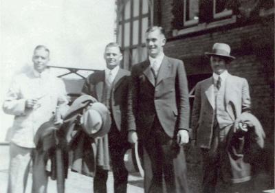 Informal photograph of Australian 1934 Ashes team members (L-R) Bill Ponsford, Bill Woodfull, Hans Ebeling and Don Bradman.