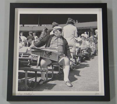 'Cricket fan, 1969/70', framed photograph of spectators at the MCG, by Angus O'Callaghan, 1969/70