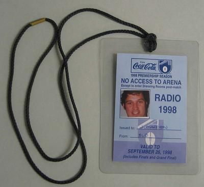 Media access pass issued to Justin Madden (3LO) for the 1998 AFL finals season