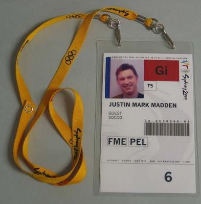 Access pass issued to Justin Madden for access to the Melbourne Cricket Ground venue during the 2000 Sydney Olympic Games