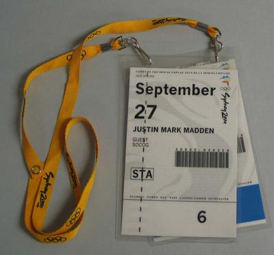 Access passes issued to Justin Madden for access to Sydney Olympic Park and Aquatic Centre venues during the 2000 Sydney Olympic Games