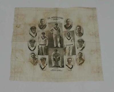 Handkerchief, image of 1930 Australian cricket team