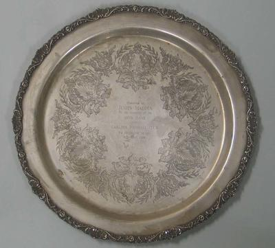 Silver salver presented to Australian footballer Justin Madden on the occasion of this 100th senior game with the Carlton Football Club, 9 April, 1989