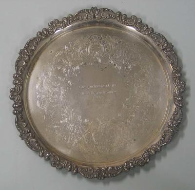Silver salver presented to Carlton Football Club player Justin Madden as senior Best and Fairest, 1985