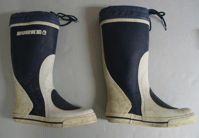 Sailing boots used by Jessica Watson on her yacht, 'Ella's Pink Lady' during her solo round-the-world sailing voyage in 2009-10.
