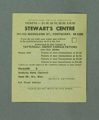 Form, Tattersall Sweep Consultation c1940s