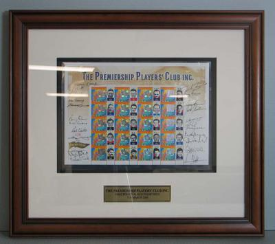 Framed AFL Premiership Players' Club commemorative Australia Post stamps, 2000