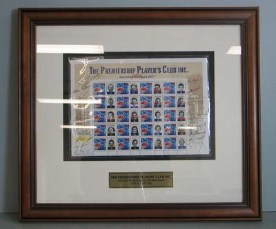 Framed AFL Premiership Players' Club commemorative Australia Post stamps, 2001