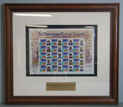 Framed AFL Premiership Players' Club commemorative Australia Post stamps, 2002