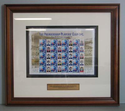 Framed AFL Premiership Players' Club commemorative Australia Post stamps, 2003