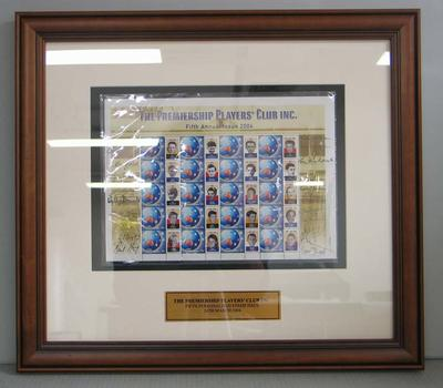 Framed AFL Premiership Players' Club commemorative Australia Post stamps, 2004