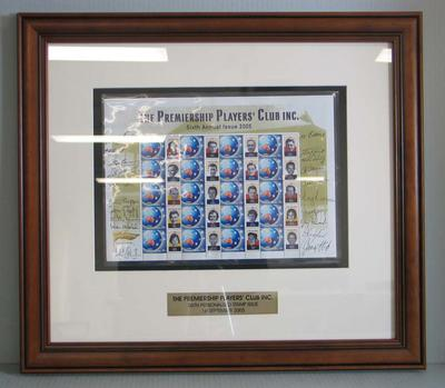 Framed AFL Premiership Players' Club commemorative Australia Post stamps, 2005
