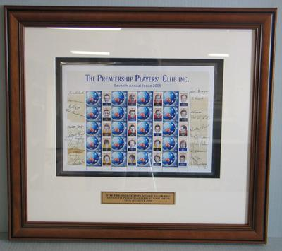Framed AFL Premiership Players' Club commemorative Australia Post stamps, 2006