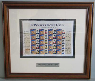Framed AFL Premiership Players' Club commemorative Australia Post stamps, 2007