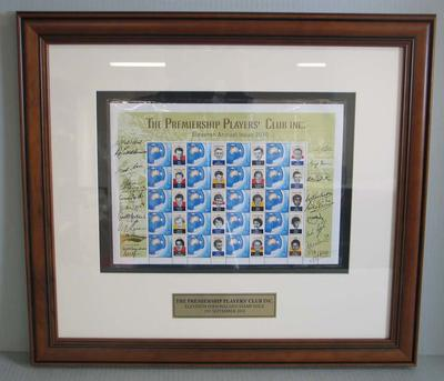 Framed AFL Premiership Players' Club commemorative Australia Post stamps, 2010