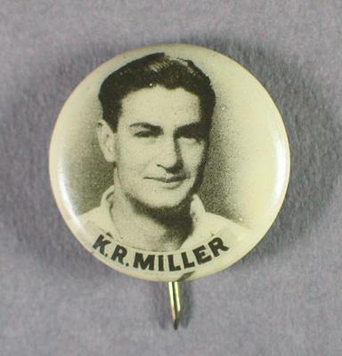 Lapel pin, photograph of Keith Miller
