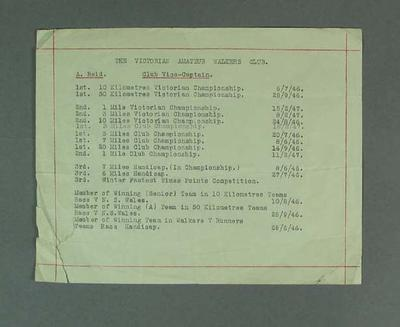 List of race walking competition results for Alan Reid, c1946-47