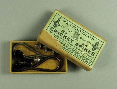 Cricket spikes set, c1930s