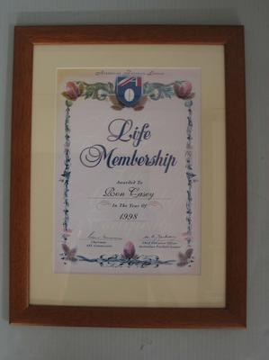 AFL Life Membership certificate awarded to Ron Casey, 1998; Trophies and awards; N2011.58.10