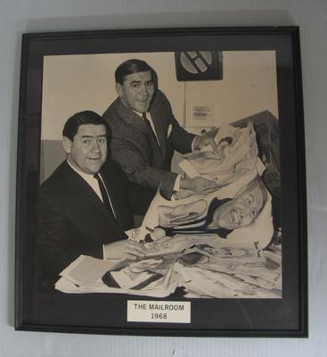 Framed black and white photograph of Ron Casey and Lou Richards