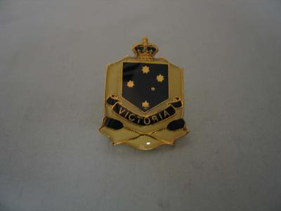 Lapel pin associated with Victorian rowing, c. 1980s