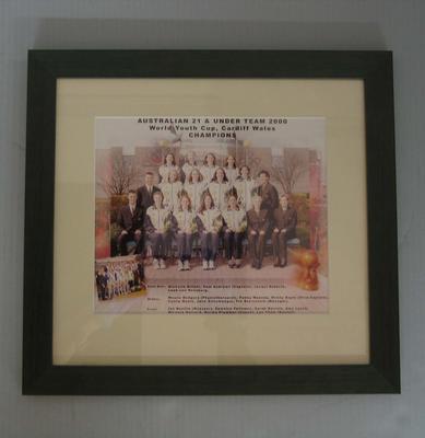 Framed team photograph of the Australian 21 & Under Netball team, 2000