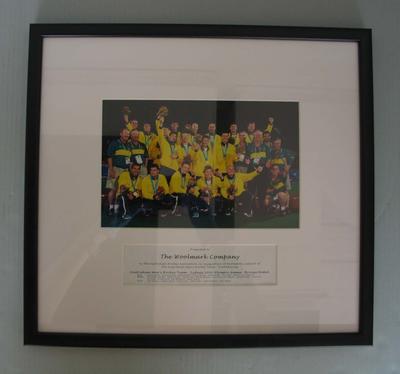 Framed team photograph of the Australian men's hockey team, 2000 Sydney Olympics