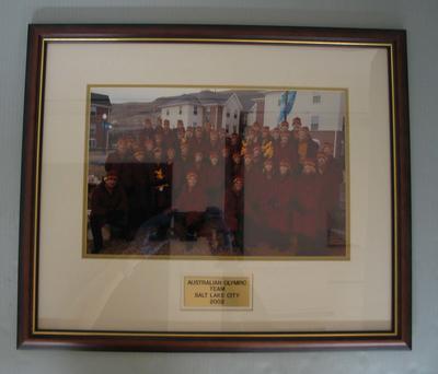 Framed team photograph of the Australian Winter Olympic team, 2002 Salt Lake City Olympics