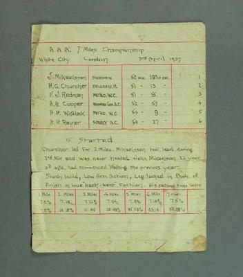 Race Results, AAA 7 Miles Championship, White City, London 1937; Documents and books; 1994.3095.78